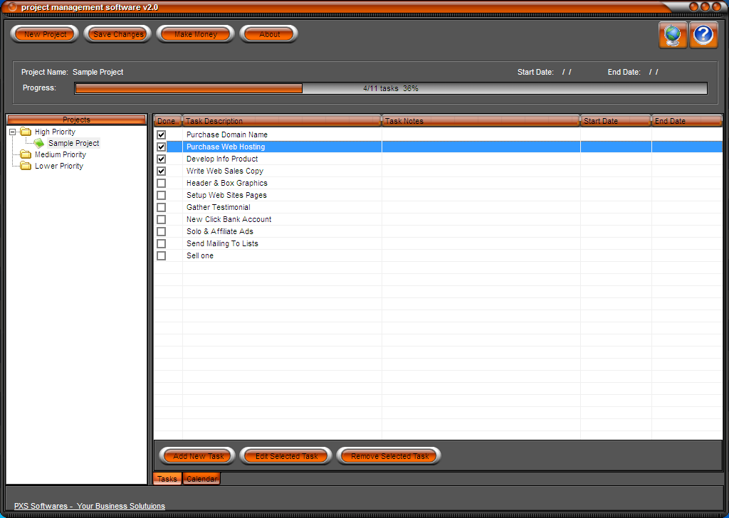 Project Management Software 2.01 screenshot